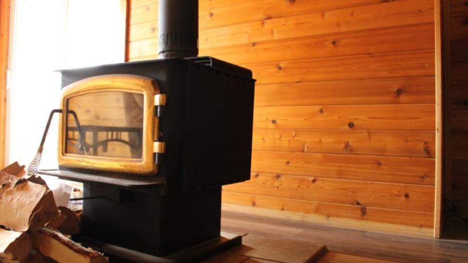 Cabin fireplace and firewood