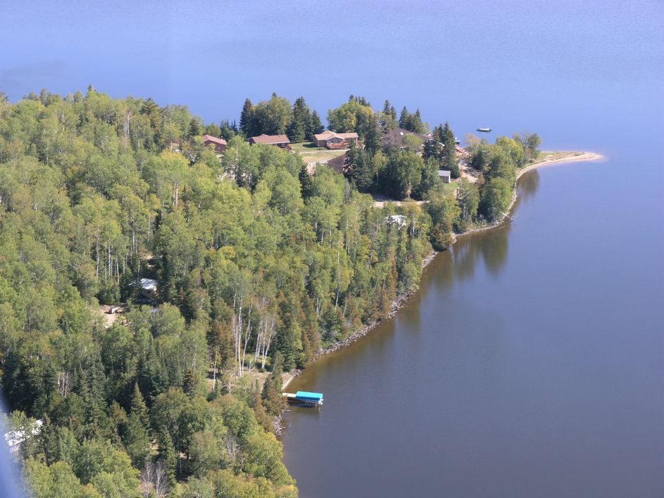 Drone shot of the lake point