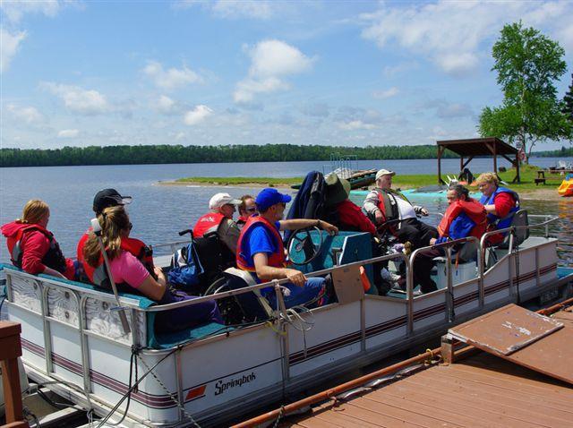 People on Pontoon Boat